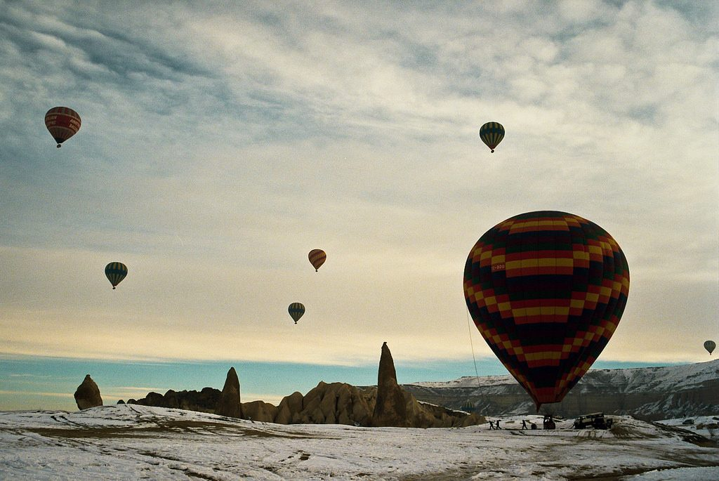 Hot air balloons are very popular in Cappadocia.