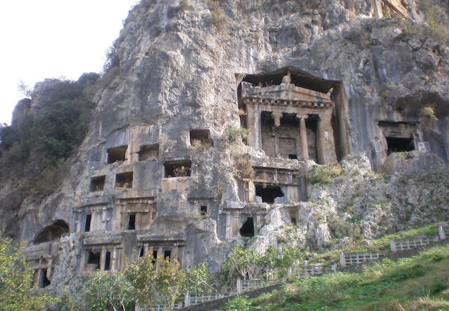 Lycian Way - Amyntas and other Lycian tombs along the cliff in Fethiye