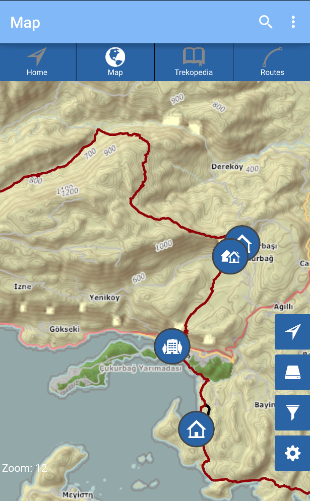 Lycian Way Zoomed-out Map