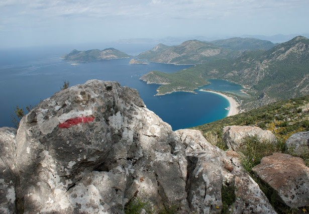 Lycian Way - Trail marker over Ölüdeniz