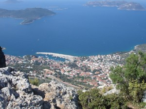 Lycian Way - Kaş and the Greek island of Meis, seen from the top of the cliffs