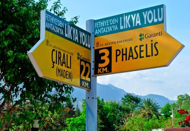 Lycian Way - Trail signpost in Tekirova