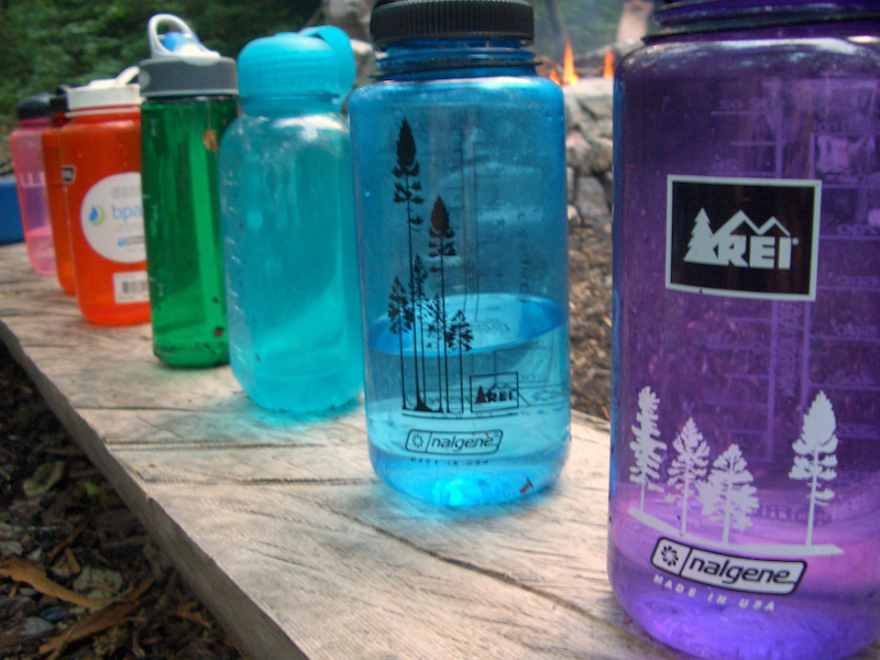 Water bottles on display