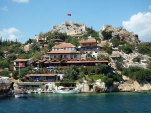Lycian Way - Idyllic view of Kaleköy and Simena Castle
