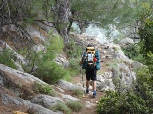 Lycian Way - Climbing up a narrow trail between Faralya & Kabak