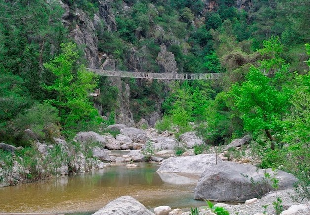 Lycian Way - Suspension bridge at Göynük Canyon
