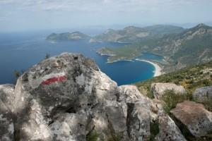 Lycian Way - Trail marker over Ölüdeniz