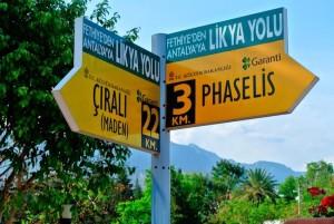 Lycian Way - Trail signpost in Tekirova